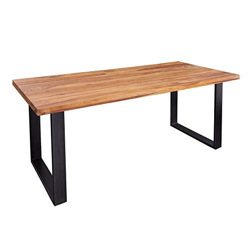 riess-ambiente.de Massiver Esstisch Iron Craft 160cm Sheesham Stone Finish Industrial Design Konferenztisch Tisch