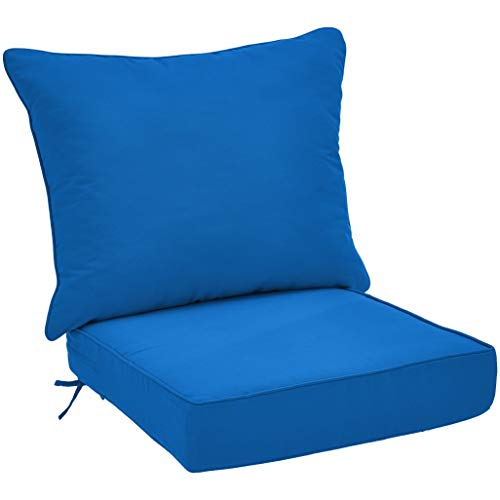 AmazonBasics Deep Seat Patio Seat and Back Cushion Set - Blue