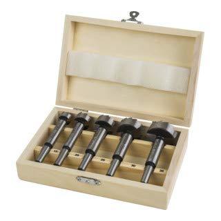 STIER Forstnerbohrer Set in Holz-Kasette, 5-teilig (15, 20, 25, 30, 35 mm), 10 mm Schaft, für Hart- & Weichholz, Forstner Bohrersatz, Forstner Bohrer Set