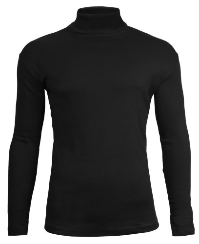 Brody & Co.® Maglietta dolcevita da uomo a collo alto, tinta unita, per inverno, sci, in jersey di cotone elasticizzato Black X-Large