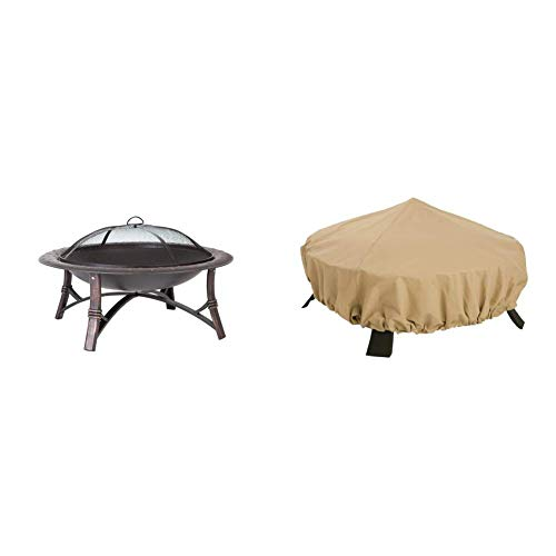 Find Bargain Fire Sense Roman Fire Pit w/ Classic Accessories Terrazzo Cover