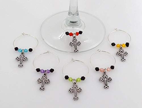 Cross Wine Glass Charms - 6 Piece Cocktail Drink Charm Set in Black Velour Gift Pouch (WGC 48E)