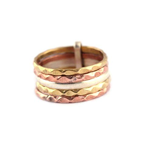 Stacking Silver Ring Band| 925 sterling silver ring| Multi Color Unisex Silver Band| Hammered Silver band| 5 rings set