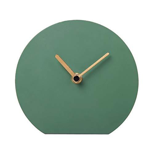 NIKKY HOME Stille Tischuhr Eisen Kein-Skalen Design Nicht Ticken für Wohnzimmer Schlafzimmer Hauptdekoration 15,5 x 5,4 x 14 cm Grün