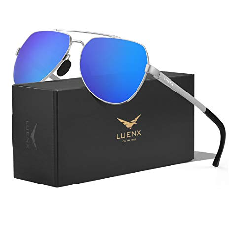 LUENX Men Women Aviator Sunglasses Polarized Shades Flexible Spring Hinge - Dark Blue Mirror Lens Silver Metal Frame 60mm