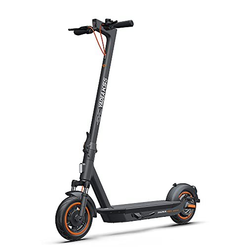 """Yadea Electric Kick Scooter KS5, Max Speed 18.6 MPH, 10"""" Care-Free Solid Tires, 25 Miles Range, Front Suspension, Foldable and Portable Commuter Electric Scooter for Adults, Grey"""