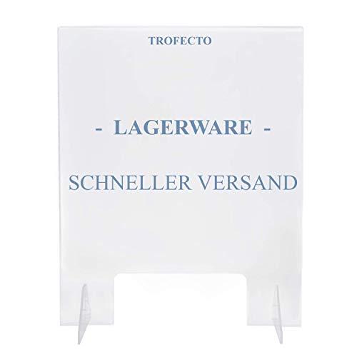 Trofecto LAGERWARE BLITZVERSAND- Spuckschutz Schutzscheibe aus Acrylglas Plexiglas mit Durchreiche - Thekenaufsatz Tresenaufsteller Schutzwand durchsichtig