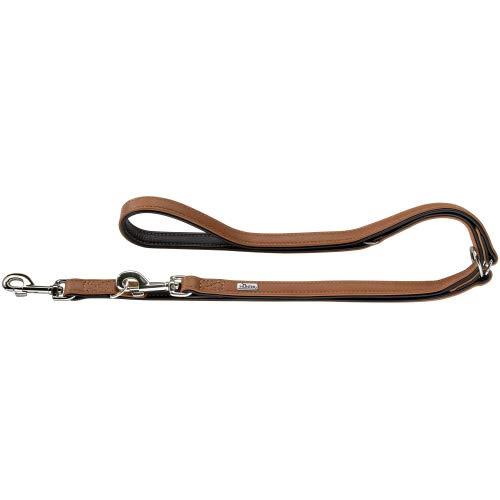 HUNTER CANADIAN Verstellbare Hundeführleine , Leder, hochwertig, weich, 2,0 x 200 cm, cognac/schwarz