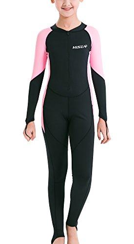Hisea Kinder Neoprenanzug Unisex Tauchanzug Langarm Badeanzug Weisuit UV Schutz Tauchanzug Schwimmanzug Einteiler für Wassersport-Rosa-11-12 Jahre Alt