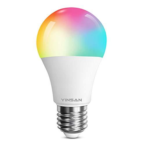 Bombilla LED Inteligente WiFi YINSAN, 9W Bombilla LED Luces Cálidas/Frías & RGB, Lámpara WiFi Funciona con Alexa Altavoz Inteligente y Google Home, 16 Millones de Colores, E27, 800 Lúmenes, 2.4G