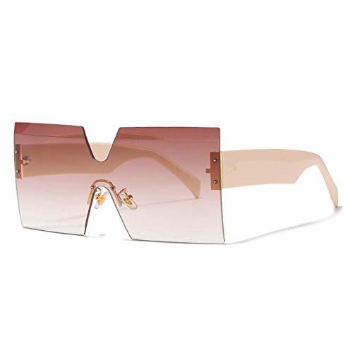ZZOW Gafas De Sol De Gran Tamaño De Una Pieza Sin Montura De Moda para Mujer, Gafas De Sol con Gradiente De Océano Transparente Vintage para Hombre, Gafas De Sol para Uñas