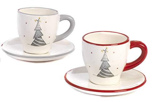 Paben Noel Servizio Caffè Tete A Tete 2 Tazzine E 2 Piattini Natalizi In Ceramica Idea Regalo Natale