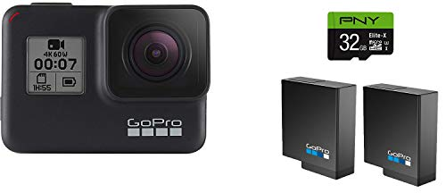 GoPro HERO7 Black + PNY Elite-X 32GB microSDHC UHS-I, U3 + 2 Total Rechargeable Batteries - Waterproof Digital Action Camera with Touch Screen 4K HD Video 12MP Photos Live Streaming Stabilization