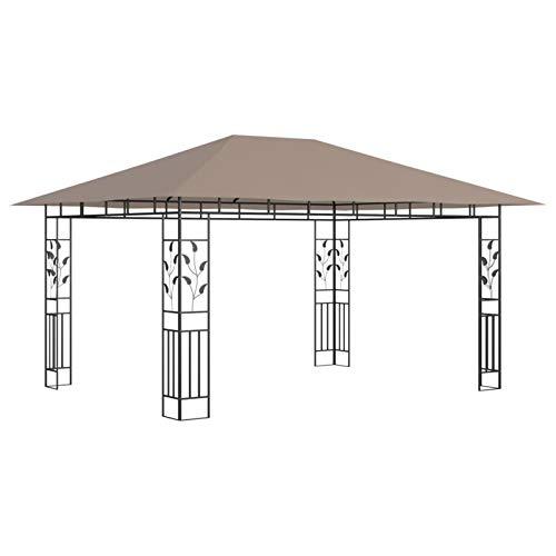 Ksodgun Cenador con mosquitera y Tira de Luces Pergola Cenador de jardín Pabellón con Techo taupé 4x3x2,73m 180 g/m²