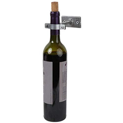"""Lily's Home Bar Wall Mount Single Wine Bottle Display Holder, Industrial Design with Mounting Hardware, Works with Wine or Liquor Bottles, Silver Finish (4-1/2"""" x 1-3/8"""" x 2-3/4"""")"""