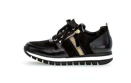 Gabor Damen Low Top Sneaker low, Frauen Schnürhalbschuhe,Wechselfußbett,Mehrweite, sportschuh freizeit halbschuh,schwarz (oro),38 EU / 5 UK