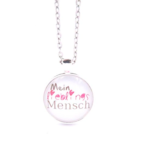 schmuck-stadt Mein Lieblingsmensch Spruch Motiv Cabochon Kette 60 cm Silber-Farben Modeschmuck