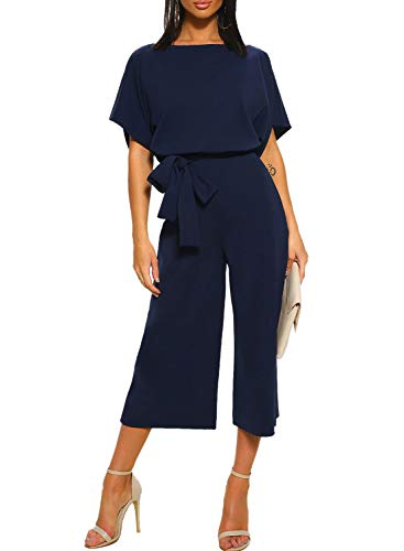 Happy Sailed Damen Langarm O-Ausschnitt Elegant Lang Jumpsuit Overall Hosenanzug Playsuit Romper S-XL, 2 Blau, Small(EU36-38)