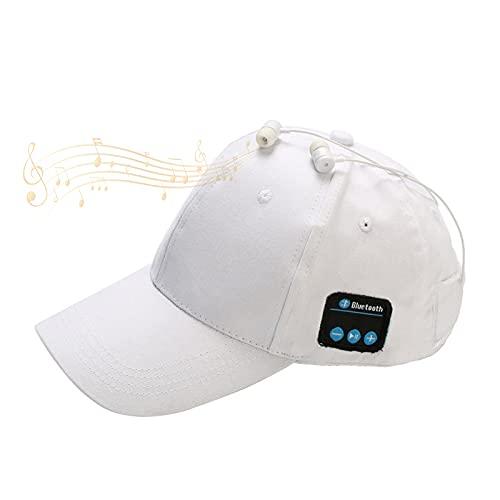 EnweKapu Gorro Bluetooth, Gorra de Música Bluetooth, Smart Speaker Cap con Estéreo Calidad Sonido HD, Recepción Efectiva 10 Metros, Lavable, para Deportes Al Aire Libre, Verano,Blanco