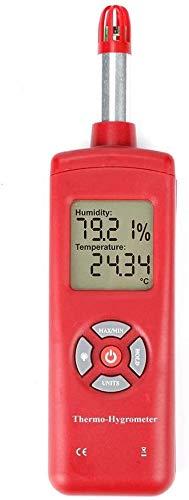 GXT Termómetro Digital Higrómetro Humedad Temperatura Tester Sensor Pyrometer Psychrometer Wet Bulb Dew Point Portable práctico (Color : Red)