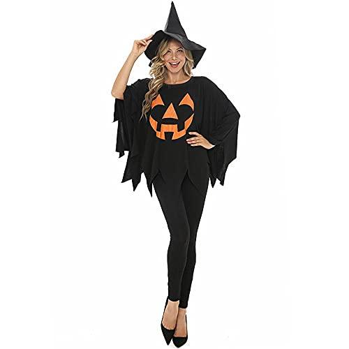 Uteruik Disfraz de bruja de Halloween para cosplay con sombrero de mago, disfraz de Halloween y fiesta de Navidad para mujer (L)