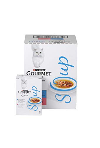 Gourmet Adult Cat Soup Wet Food Pouch Tuna/Shrimp/Whitefish, Multipack, 4x40g - Pack of 10
