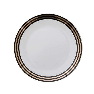TFJJSQA Plato de cerámica especial y simple con diseño del alfabeto inglés pintado a mano en oro Dim Sum, plato de desayuno de 6 pulgadas A (color: F, tamaño: 9 pulgadas)