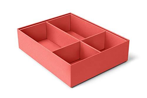 ilo - Organizador Cajones cm 35x27 H.5,5 - Almacenamiento de Escritorio - Caja con 4 Compartimentos - Tapicería en Suave Terciopelo Naranja - Reciclable y Fabricado en Italia