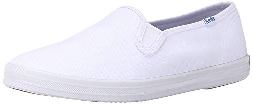 Keds Women's Champion Canvas Slip-On Sneaker, White, 9.5 Narrow
