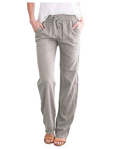 SCOFEEL Women's Cotton Linen Pants Drawstring Elastic Waist Side Pockets high Rise Casual Loose Trousers Pants Light Grey