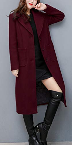 chouyatou Women's Wool Blend Coat-Red Wine