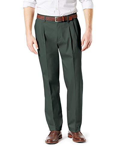 Dockers Men's Classic Fit Signature Khaki Lux Cotton Stretch Pleated Pants, Olive Grove, 34W x 32L