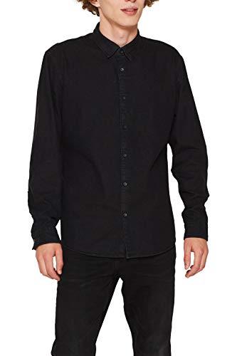 edc by ESPRIT Herren 119CC2F002 Freizeithemd, Schwarz (Black Dark Wash 911), Medium (Herstellergröße: M)