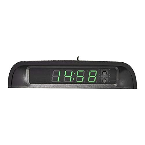 chenyi Relojes de automóviles con termómetro de Pantalla Nocturno Auto Stick Interno de Stick-on Digital Watch Solar Powered 24 Horas Reloj de Coche