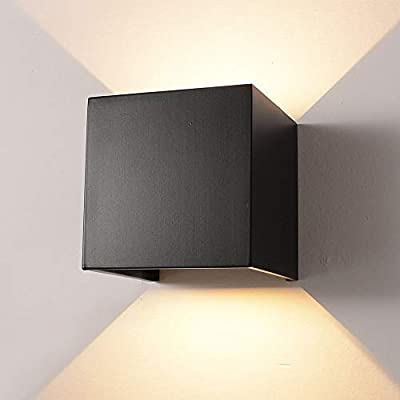 LED Aluminum Waterproof Wall Lamp,12W 85-225V 3200K/6000K Adjustable Outdoor Wall Light Warm Light 2 LEDs