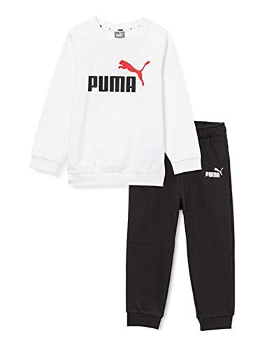 PUMA Minicats ESS Crew Jogger Chándal, Unisex niños, White, 98