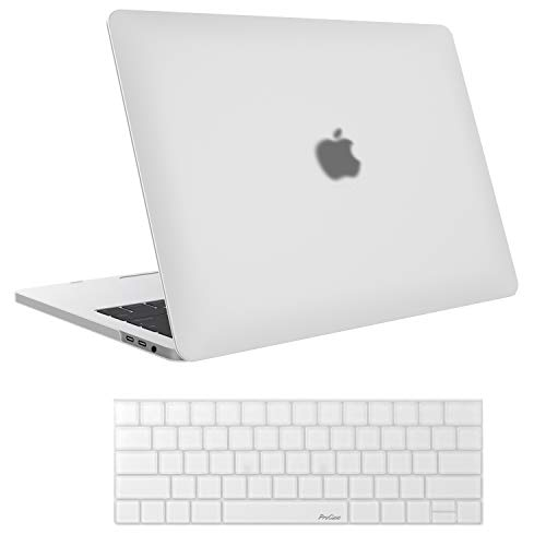 ProCase MacBook Pro 13 Case 2019 2018 2017 2016 Release A2159 A1989 A1706 A1708, Hard Case Shell Cover and Keyboard Skin Cover for Apple MacBook Pro 13 Inch with/Without Touch Bar -Frost Clear