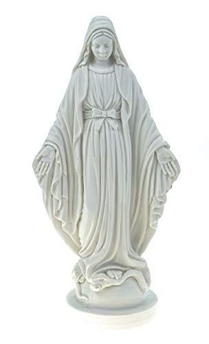 Alabaster - Figura Decorativa (17 cm), diseño de Virgen María, Color Blanco