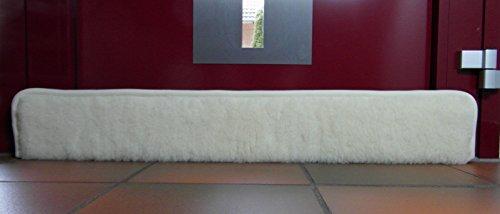 Sesua Zugluftstopper Windstopper aus Schurwolle universal einsetzbar für Tür oder Fenster 100x16,5x5cm (Natur) mit Klettband