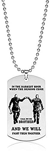 WYDSFWL Collar Mujer Hombre Nueva Etiqueta de Perro Collar Colgante para Hombres Motocicleta ejército Hermanos Soldado Hombre Duro joyería BFF en la Hora más Oscura Cuando los Demonios