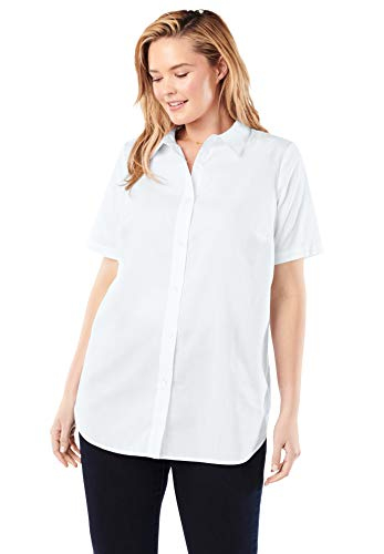 Woman Within Women's Plus Size Perfect Short Sleeve Button Down Shirt - 3X, White