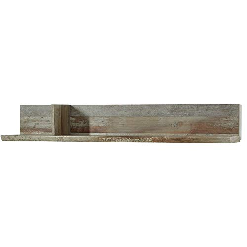 Bonanza Vintage Wandboard in Driftwood Optik - ausdrucksstarkes & vielseitig einsetzbares Retro Wandregal - 130 x 20 x 22 cm (B/H/T)