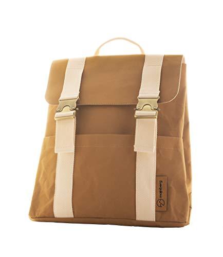 majnberg Kraft-Papier-Rucksack in braun, vegane Tasche im Vintage-Stil, wasserfester Alltagsrucksack aus Zellulose mit Leder-Optik und Canvas-Gurten
