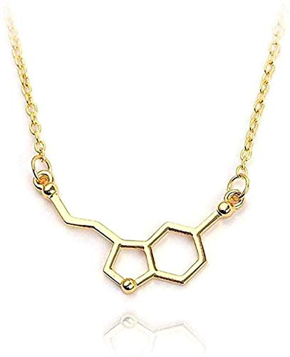 LKLFC Necklace Women Necklace Men Necklace Serotonin Molecule Pendant Necklaces Dopamine Molecule Necklace Gift Girls Boys Necklace