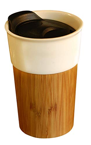 Amadias Coffee to Go Becher Kaffee to go Becher Kaffeebecher to go aus Keramik mit Hülle aus Bambus und Zwei Deckeln