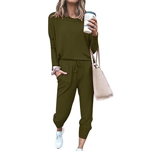 Chándal para Mujer Completo Camiseta Manga Larga y Pantalones Largos con Cordones Conjunto Deportivo 2 Piezas Color Sólido para Mujer Chándal Casual para Casa Deporte Yoga Fitness (Verde Militar, L)