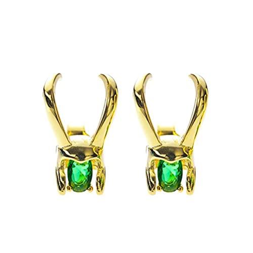 Pendientes Loki para Mujeres Pendientes de Casco Pendientes de Aleación de Cristal Verde Pendientes Hipoalergénicos Brillantes de Circonita Cúbica Pendientes de Solitario Pendientes