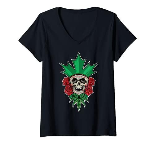 Mujer Crneo de azcar floral Dia De Los Muertos Da Mexicano de los Muertos Camiseta Cuello V