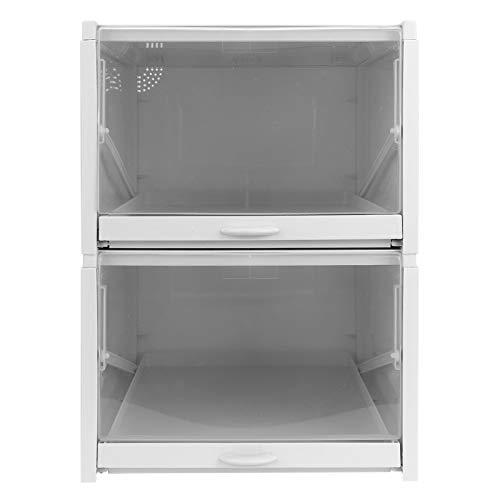 Omabeta Caja de Zapatos PP Transparente Almacenamiento apilable cajón Organizador Plegable contenedor gabinete Duradero para el hogar(2pcs Big)