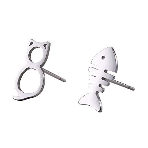 LIKGREAT Pendientes de acero inoxidable con diseño de gato y pez para mujeres y niñas